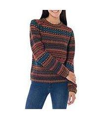 100% alpaca sweater, 'autumn medley' (peru)