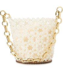 0711 embellished bucket bag - white