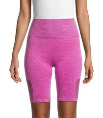 nine west women's seamless bike shorts - purple flower - size l/xl