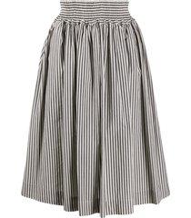 woolrich striped poplin skirt - white