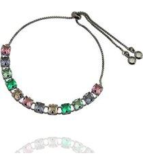 pulseira dona diva semi jóias cristais feminina