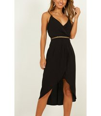 yoins black wrap design v-neck sleeveless party dress