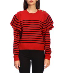 red valentino sweater red valentino striped sweater with jewel buttons and rouches