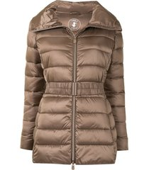 save the duck light tie-waist quilted jacket - brown