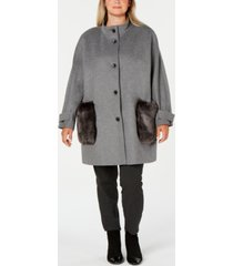 dkny plus size faux-fur-pocket walker coat