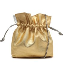 liv metallic leather bucket bag - o/s silver/gold leather