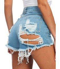 botón de mezclilla diseño shorts de cintura alta con rotos al azar diseño