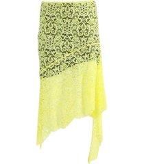 yellow asymmetric lace skirt