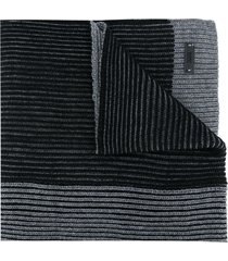 boss hugo boss ribbed knit scarf - black