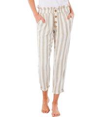 women's rip curl ashore stripe ankle pants, size x-large - beige