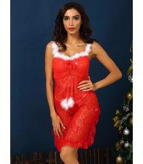 conjunto de lencería con dobladillo de encaje y lazo rojo navideño