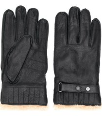 barbour faux fur lined gloves - black
