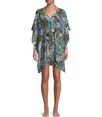 mixed-print v-neck coverup