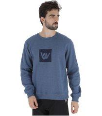 blusão de moletom hang loose logo - masculino - azul escuro