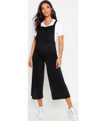 zwangerschap geribbeld 2-in-1 t-shirt en tuinbroek set, black