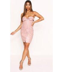 high shine lether zip front dress, rose pink