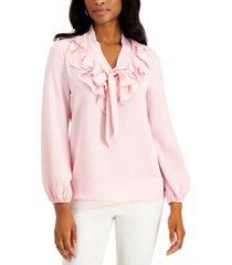 kasper petite ruffled tie-front woven blouse