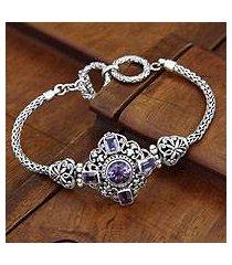 amethyst braided bracelet, 'taman ayun light' (indonesia)