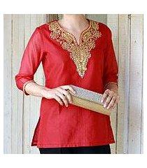cotton and silk blend tunic, 'jaipuri romance' (india)