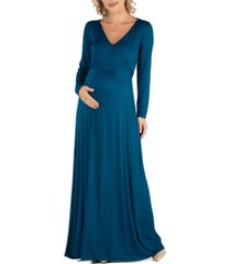 24seven comfort apparel semi formal long sleeve maternity maxi dress