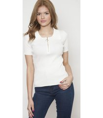 blusa manga corta con cierre blanca 609 seisceronueve