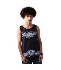 camiseta regata masculina overfame barroco floral ornamental