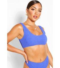mix and match crinkle crop bikini top, blue