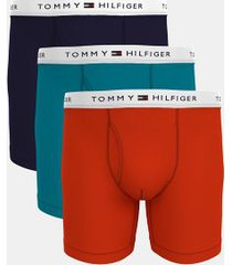 tommy hilfiger men's cotton classics boxer brief 3pk navy blazer/enamel blue/fiery red - l
