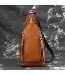 uomini spazzolato vintage vera pelle petto borsa spalla borsa crossbody borsa