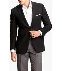 men's big & tall canali classic fit solid wool blazer, size 52 us / 62 eu l - black