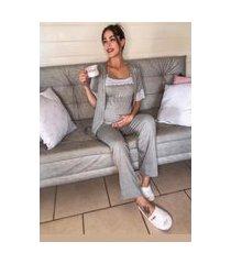 pijama laura de amamentar cinza