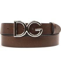 dolce & gabbana dg dark brown leather belt