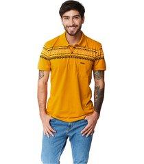 camiseta tipo polo-puntazul-mostaza-41448