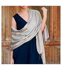 silk shawl, 'elegant taupe' (india)