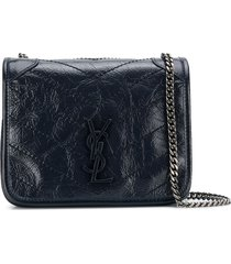 saint laurent niki chain wallet cross-body bag - blue