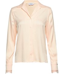 ls lace trim blouse blouse lange mouwen roze calvin klein