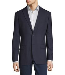 slim-fit tonal grid wool blazer
