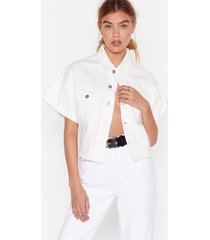 womens wash is going on cropped denim jacket - white