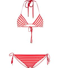 valentino stripe triangle bikini set - red