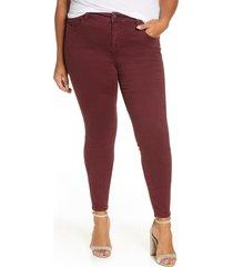plus size women's liverpool abby skinny jeans, size 18w - burgundy
