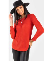 lana button back waffle knit top - rust