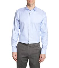 men's big & tall nordstrom trim fit non-iron dress shirt, size 17 - 36/37 - blue