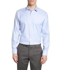 men's big & tall nordstrom trim fit non-iron dress shirt, size 18.5 - 34/35 - blue