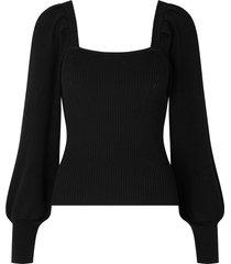 gebreide trui met ballonmouwen bess  black