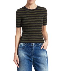 striped lurex rib-knit cropped tee