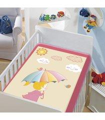 cobertor infantil jolitex tradicional dia de sol rosa bebe feminino - rosa - dafiti