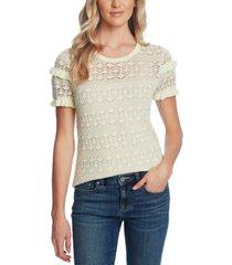 cece ruffled cotton pointelle sweater