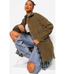 oversized corduroy blouse met gerafelde zoom, khaki