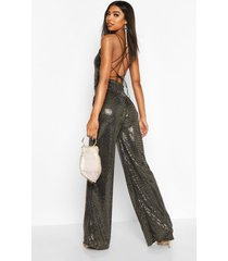 tall strappy cut out back sequin jumpsuit, gold