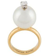 simone rocha anel grande com esferas peroladas e vidro - dourado
